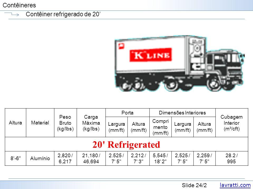 lavratti.com Slide 24/2 Contêineres Contêiner refrigerado de 20 AlturaMaterial Peso Bruto (kg/lbs) Carga Máxima (kg/lbs) PortaDimensões Interiores Cub