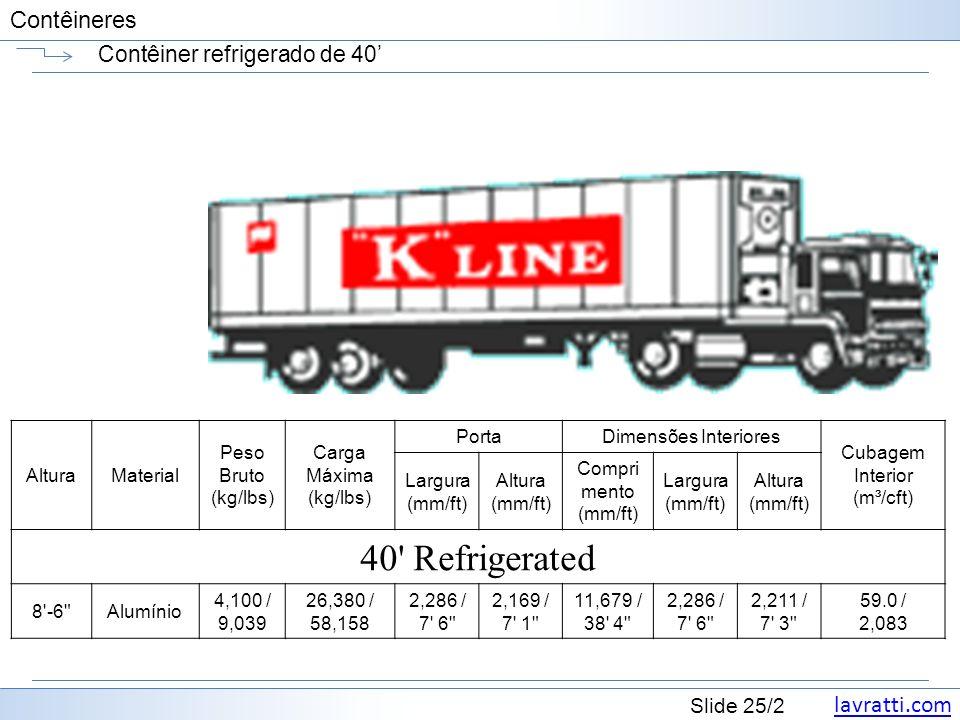 lavratti.com Slide 25/2 Contêineres Contêiner refrigerado de 40 AlturaMaterial Peso Bruto (kg/lbs) Carga Máxima (kg/lbs) PortaDimensões Interiores Cub
