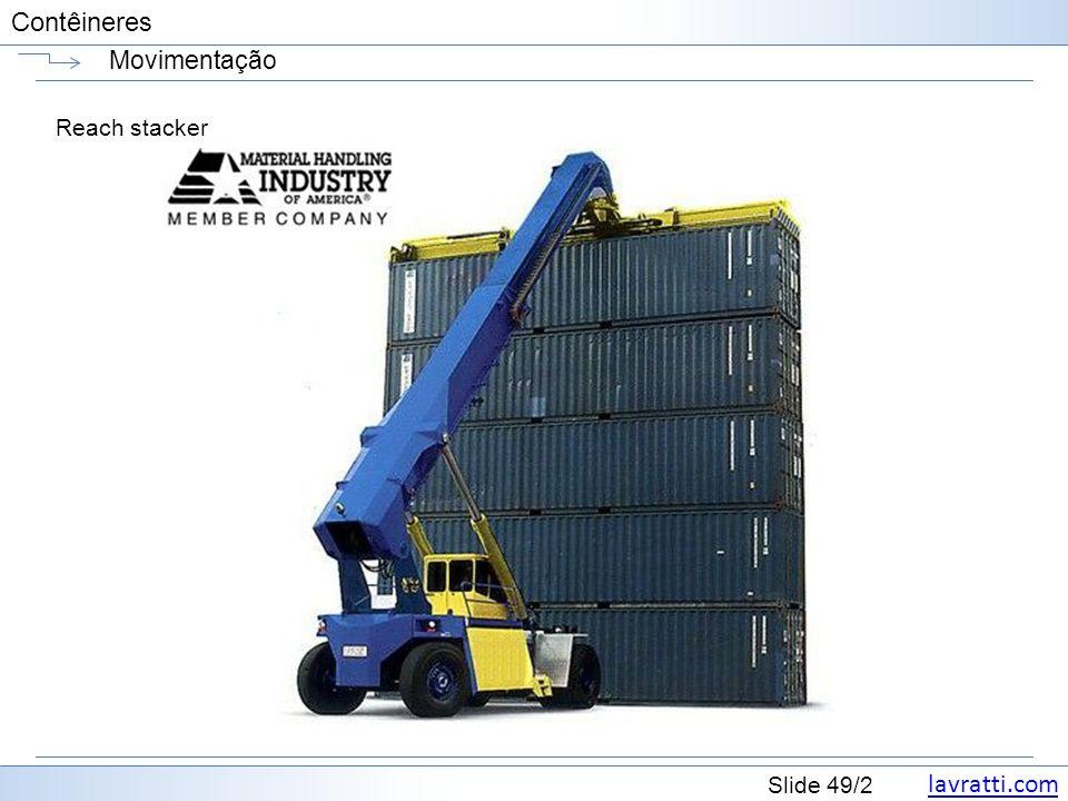 lavratti.com Slide 49/2 Contêineres Movimentação Reach stacker