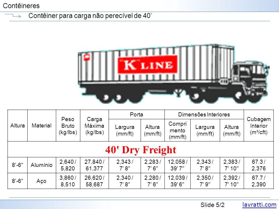 lavratti.com Slide 26/2 Contêineres Contêiner refrigerado high cube (HC) de 40 AlturaMaterial Peso Bruto (kg/lbs) Carga Máxima (kg/lbs) PortaDimensões Interiores Cubagem Interior (m³/cft) Largura (mm/ft) Altura (mm/ft) Compri mento (mm/ft) Largura (mm/ft) Altura (mm/ft) 40 HC Refrigerated 9 -6 Alumínio 4,550 / 10,031 25,930 / 57,166 2,286 / 7 6 2,433 / 8 0 11,672 / 38 4 2,286 / 7 6 2,505 / 8 3 66.8 / 2,358