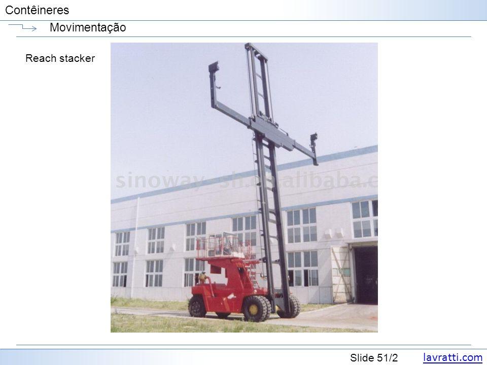 lavratti.com Slide 51/2 Contêineres Movimentação Reach stacker