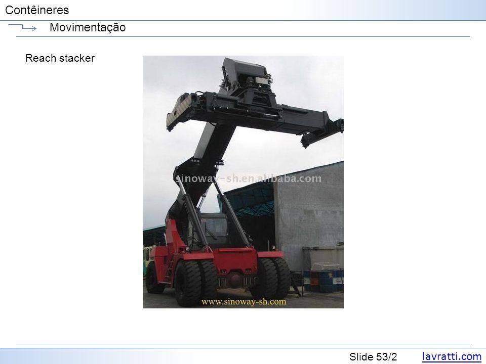 lavratti.com Slide 53/2 Contêineres Movimentação Reach stacker