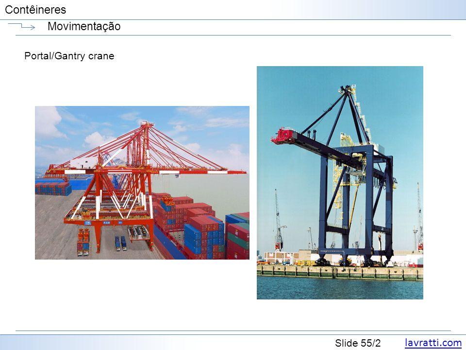 lavratti.com Slide 55/2 Contêineres Movimentação Portal/Gantry crane