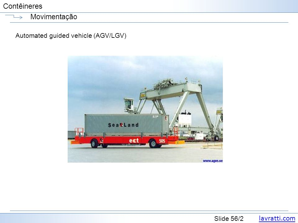 lavratti.com Slide 56/2 Contêineres Movimentação Automated guided vehicle (AGV/LGV)