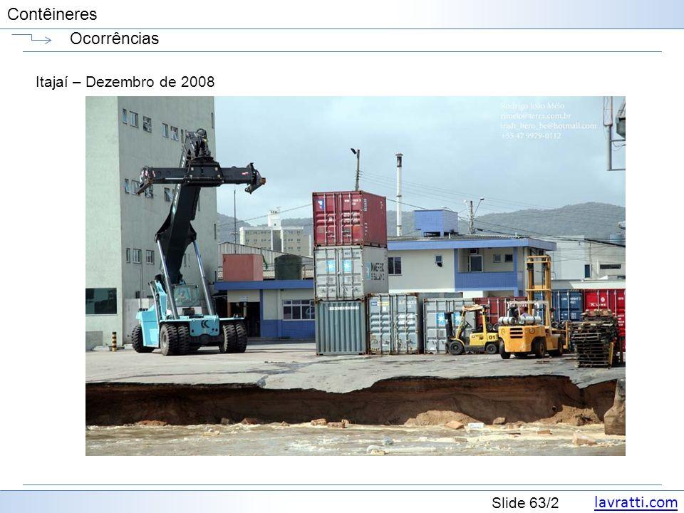 lavratti.com Slide 63/2 Contêineres Ocorrências Itajaí – Dezembro de 2008