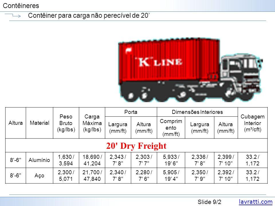 lavratti.com Slide 20/2 Contêineres Contêiner plataforma de 40 AlturaMaterial Peso Bruto (kg/lbs) Carga Máxima (kg/lbs) PortaDimensões Interiores Cubagem Interior (m³/cft) Largura (mm/ft) Altura (mm/ft) Compri mento (mm/ft) Largura (mm/ft) Altura (mm/ft) 40 Platform -Aço 6,160 / 13,580 50,000 / 110,231 -- 12,192 / 40 0 2,438 / 8 0 --