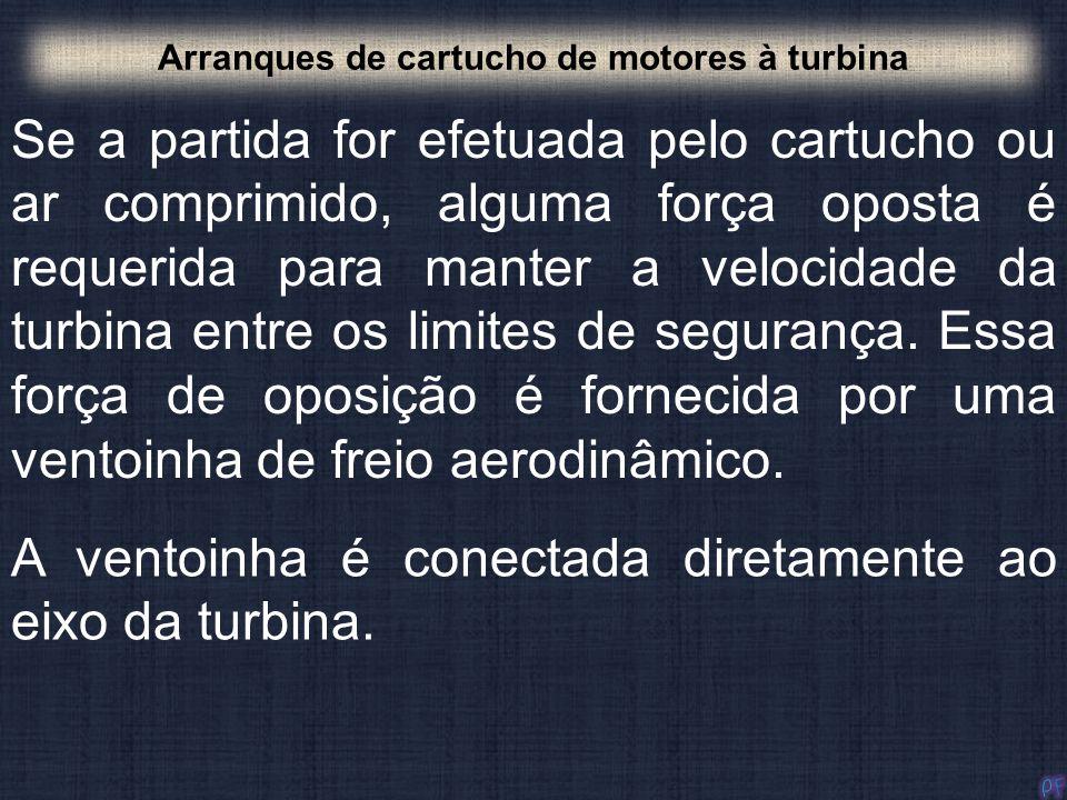 Arranques de cartucho de motores à turbina Se a partida for efetuada pelo cartucho ou ar comprimido, alguma força oposta é requerida para manter a vel