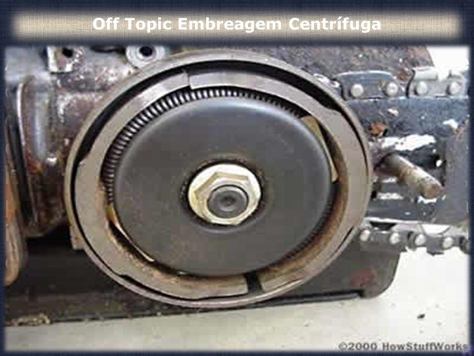A embreagem centrífuga é a conexão entre o motor e a correia. A finalidade da embreagem é ficar aberta enquanto o motor está em espera para que a corr