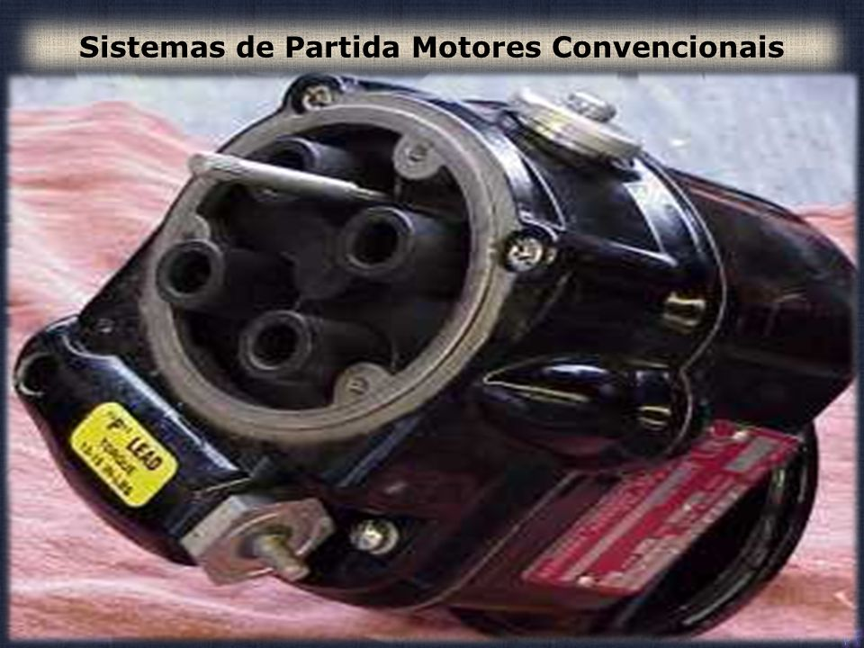 146 13- Um motor de arranque típico, é um motor: a) de 12 ou 24 volts, enrolamento em paralelo, que desenvolve elevado torque na partida.