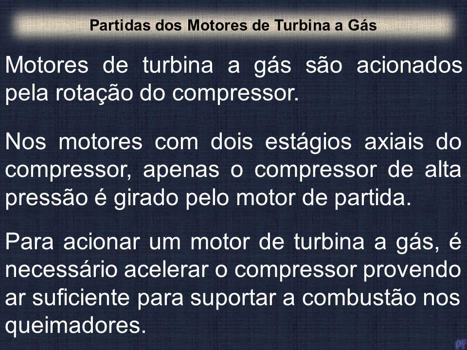 Motores de turbina a gás são acionados pela rotação do compressor. Partidas dos Motores de Turbina a Gás Nos motores com dois estágios axiais do compr