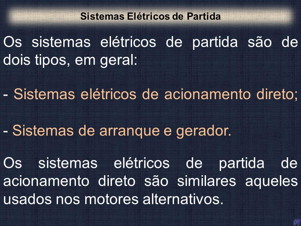Os sistemas elétricos de partida são de dois tipos, em geral: Sistemas Elétricos de Partida - Sistemas elétricos de acionamento direto; - Sistemas de