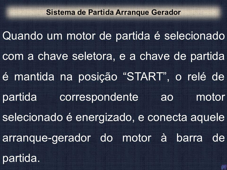 Quando um motor de partida é selecionado com a chave seletora, e a chave de partida é mantida na posição START, o relé de partida correspondente ao mo
