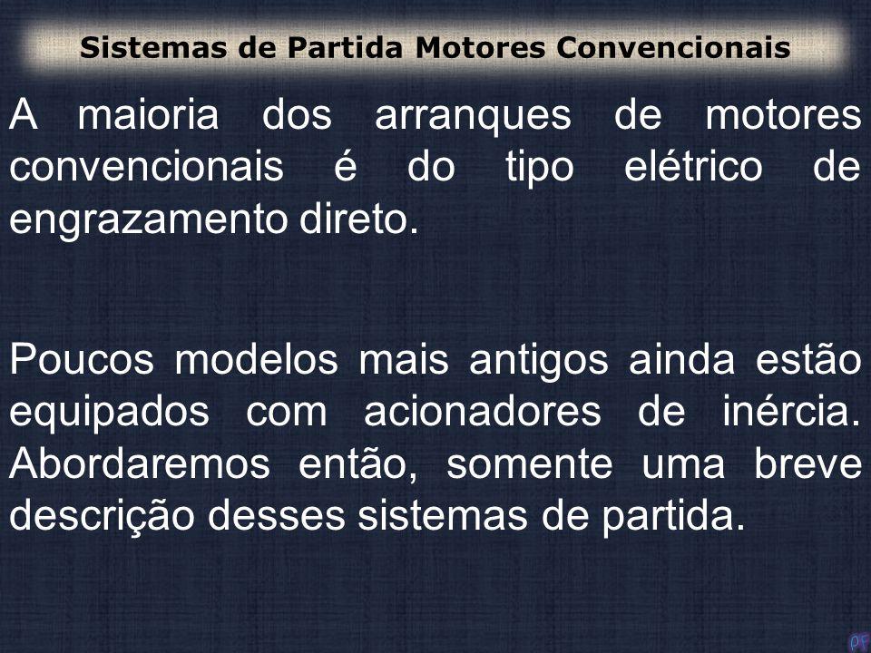 Existem três tipos de Partida por Inércia: - Manual de inércia; - Elétrico de inércia; - De inércia, combinado manual e elétrico.