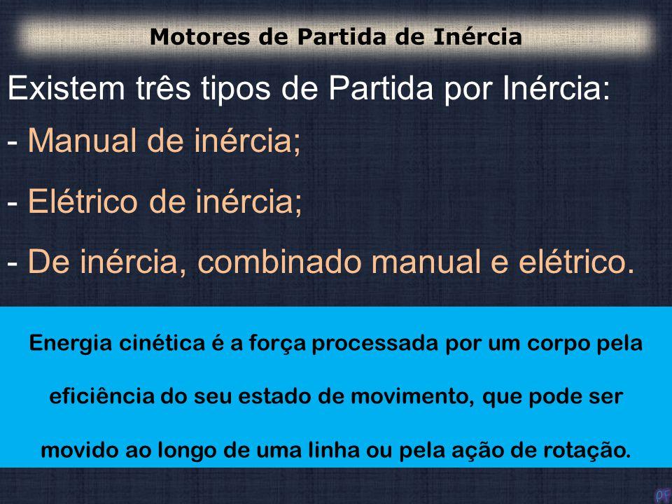 Existem três tipos de Partida por Inércia: - Manual de inércia; - Elétrico de inércia; - De inércia, combinado manual e elétrico. A operação de todos