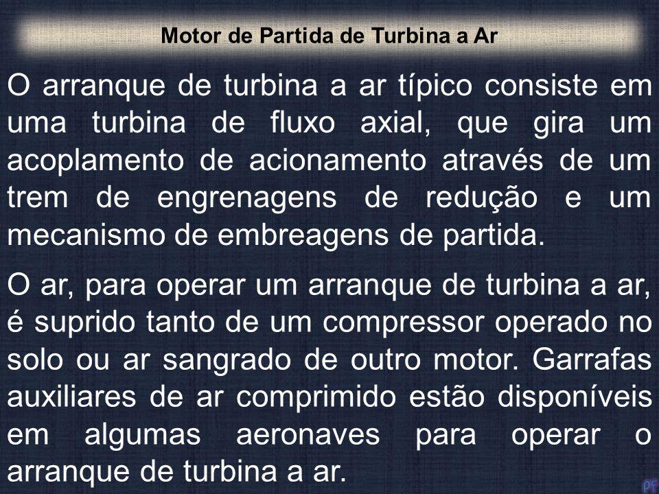 O arranque de turbina a ar típico consiste em uma turbina de fluxo axial, que gira um acoplamento de acionamento através de um trem de engrenagens de