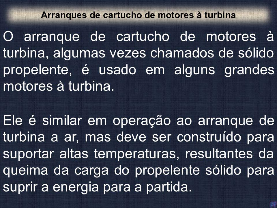 O arranque de cartucho de motores à turbina, algumas vezes chamados de sólido propelente, é usado em alguns grandes motores à turbina. Arranques de ca