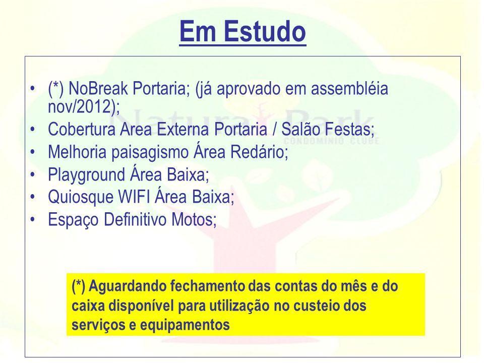 Em Estudo (*) NoBreak Portaria; (já aprovado em assembléia nov/2012); Cobertura Area Externa Portaria / Salão Festas; Melhoria paisagismo Área Redário