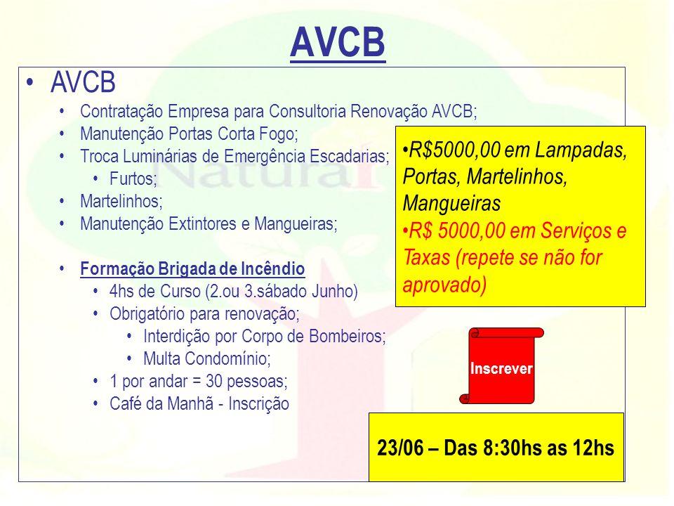 AVCB Contratação Empresa para Consultoria Renovação AVCB; Manutenção Portas Corta Fogo; Troca Luminárias de Emergência Escadarias; Furtos; Martelinhos