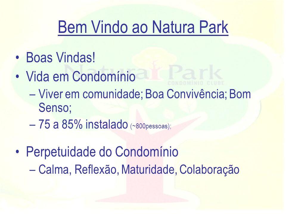 Bem Vindo ao Natura Park Boas Vindas! Vida em Condomínio –Viver em comunidade; Boa Convivência; Bom Senso; –75 a 85% instalado (~800pessoas); Perpetui