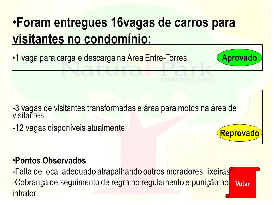 Foram entregues 16vagas de carros para visitantes no condomínio; 1 vaga para carga e descarga na Area Entre-Torres; -3 vagas de visitantes transformad