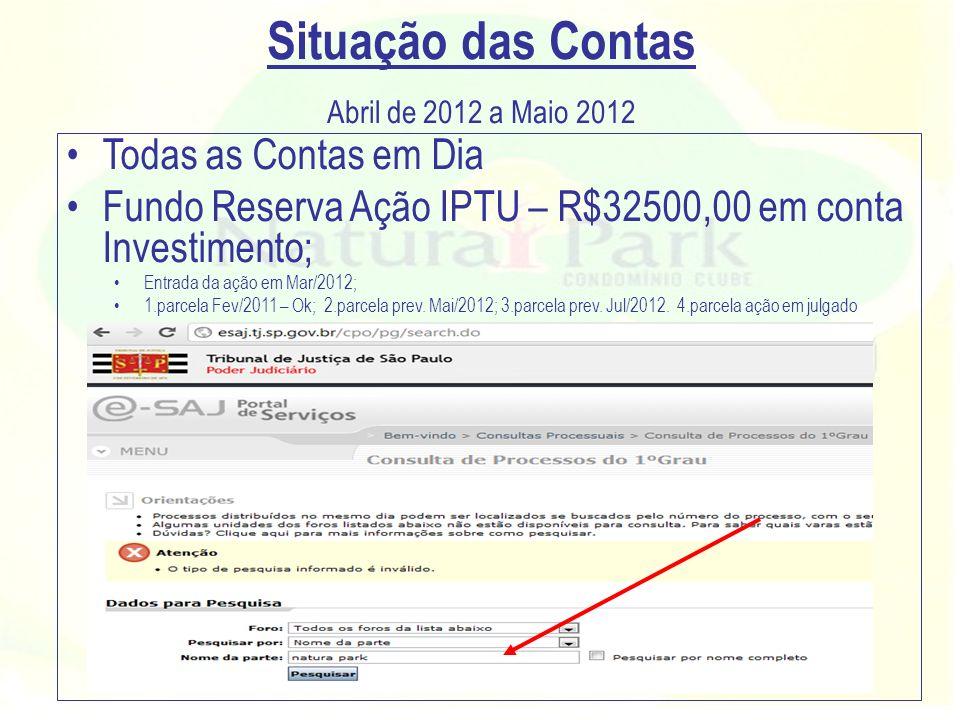 Situação das Contas Abril de 2012 a Maio 2012 Todas as Contas em Dia Fundo Reserva Ação IPTU – R$32500,00 em conta Investimento; Entrada da ação em Ma