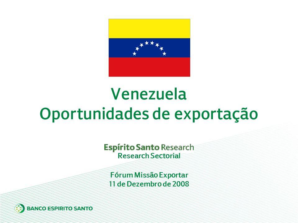 Fórum Missão Exportar 11 de Dezembro de 2008 Venezuela Oportunidades de exportação Research Sectorial