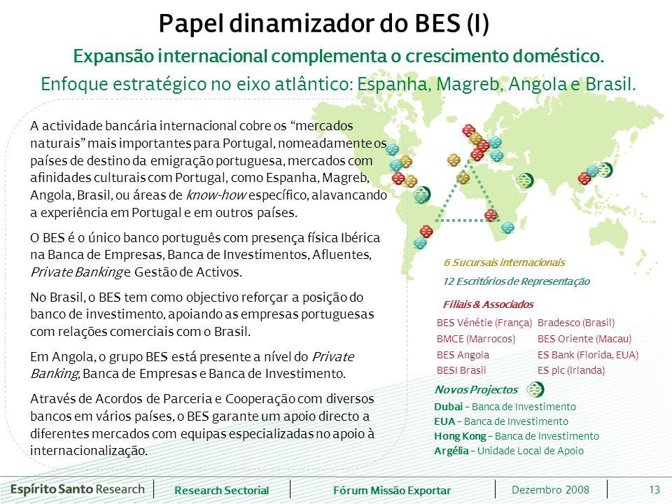 Research SectorialFórum Missão Exportar 13Dezembro 2008 Expansão internacional complementa o crescimento doméstico. Enfoque estratégico no eixo atlânt