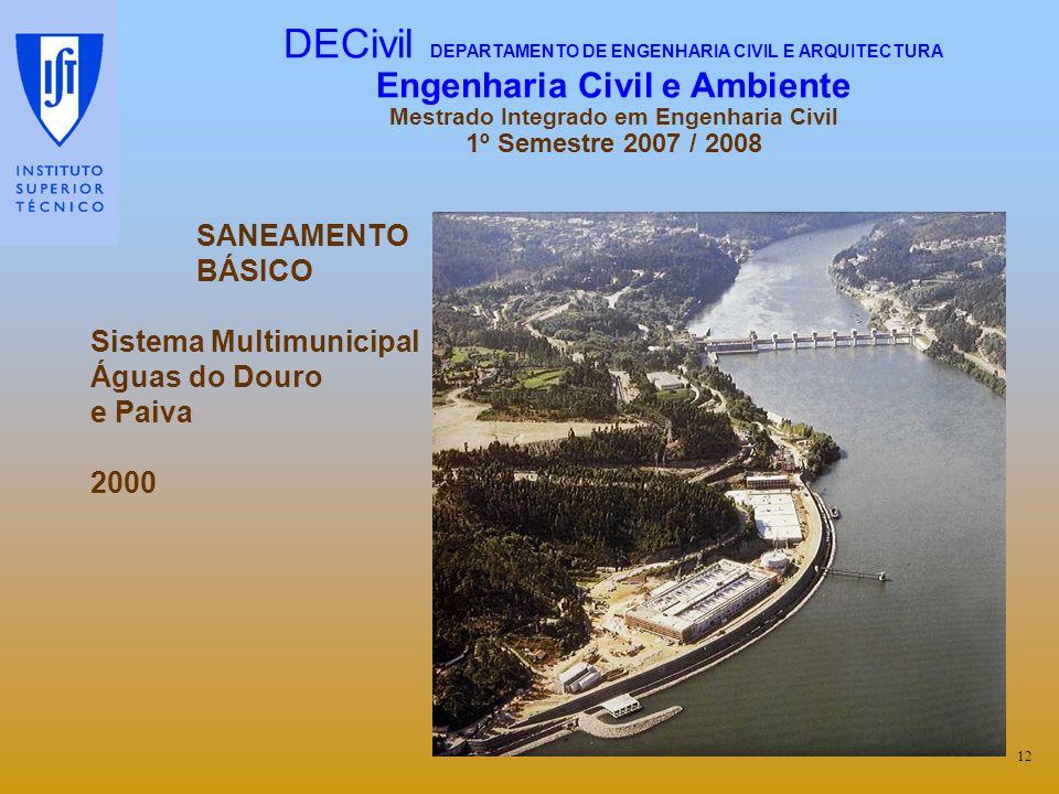 SANEAMENTO BÁSICO Sistema Multimunicipal Águas do Douro e Paiva 2000 12 DECivil DEPARTAMENTO DE ENGENHARIA CIVIL E ARQUITECTURA Engenharia Civil e Amb