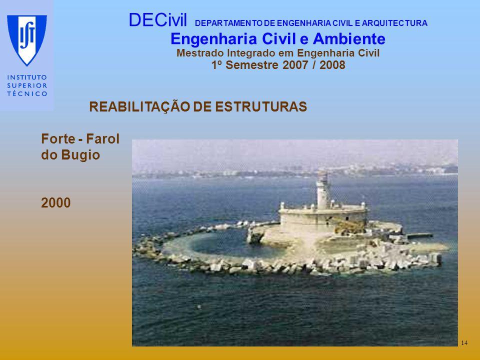 REABILITAÇÃO DE ESTRUTURAS Forte - Farol do Bugio 2000 14 DECivil DEPARTAMENTO DE ENGENHARIA CIVIL E ARQUITECTURA Engenharia Civil e Ambiente Mestrado