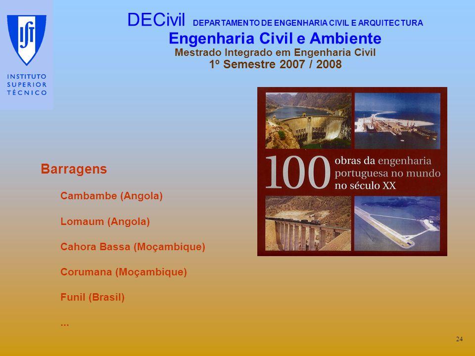 Barragens Cambambe (Angola) Lomaum (Angola) Cahora Bassa (Moçambique) Corumana (Moçambique) Funil (Brasil)... 24 DECivil DEPARTAMENTO DE ENGENHARIA CI