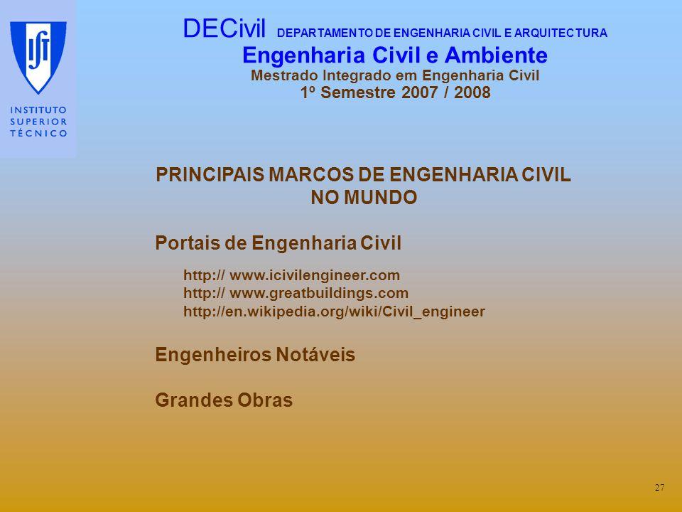 PRINCIPAIS MARCOS DE ENGENHARIA CIVIL NO MUNDO Portais de Engenharia Civil http:// www.icivilengineer.com http:// www.greatbuildings.com http://en.wik