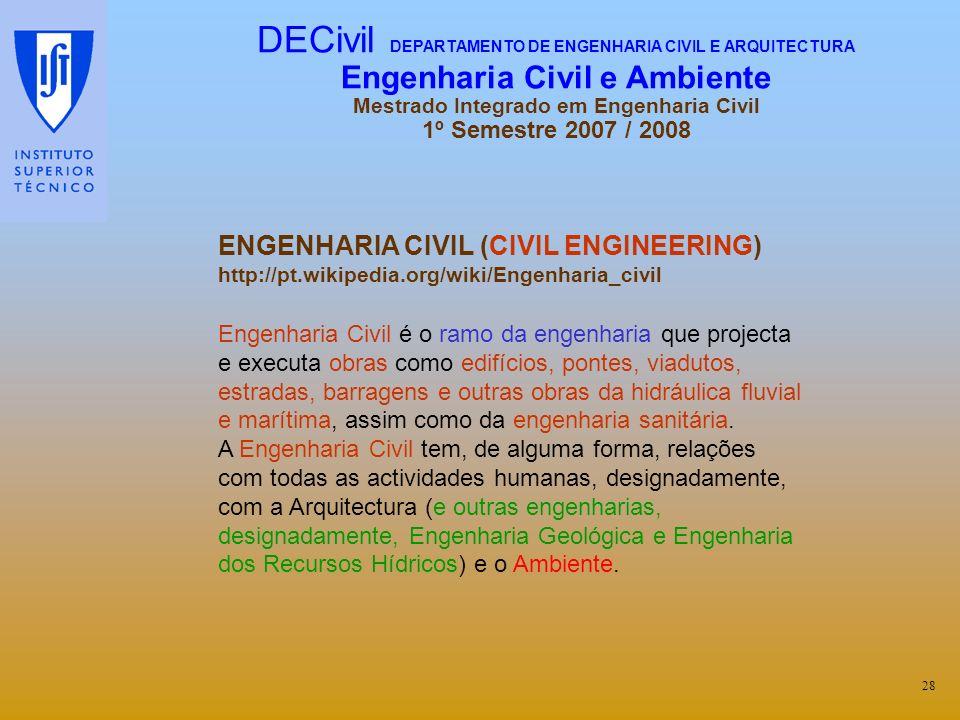 ENGENHARIA CIVIL (CIVIL ENGINEERING) http://pt.wikipedia.org/wiki/Engenharia_civil Engenharia Civil é o ramo da engenharia que projecta e executa obra