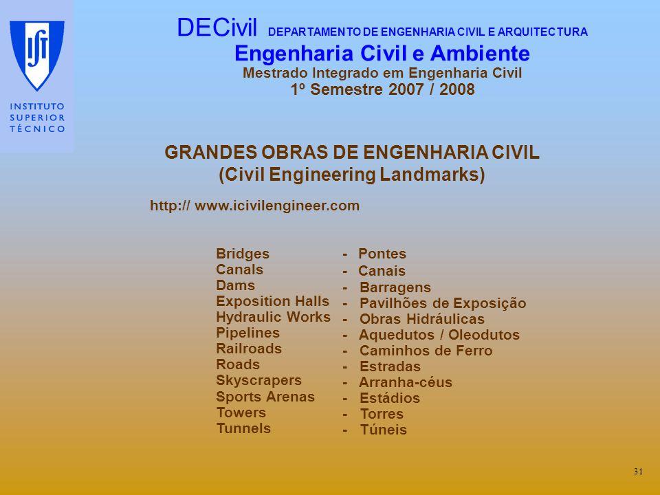 GRANDES OBRAS DE ENGENHARIA CIVIL (Civil Engineering Landmarks) http:// www.icivilengineer.com 31 Bridges Canals Dams Exposition Halls Hydraulic Works
