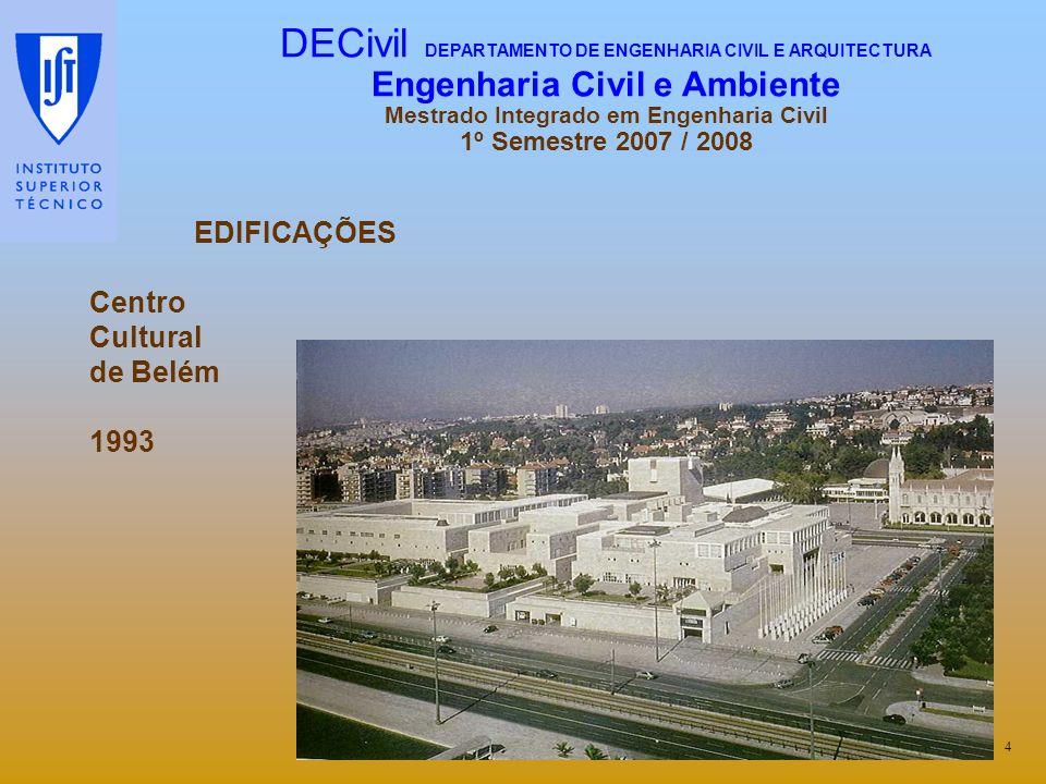 EDIFICAÇÕES Centro Cultural de Belém 1993 4 DECivil DEPARTAMENTO DE ENGENHARIA CIVIL E ARQUITECTURA Engenharia Civil e Ambiente Mestrado Integrado em