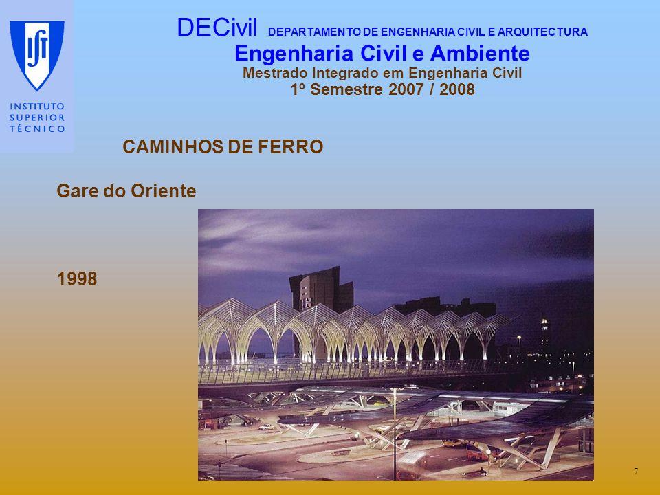 CAMINHOS DE FERRO Gare do Oriente 1998 7 DECivil DEPARTAMENTO DE ENGENHARIA CIVIL E ARQUITECTURA Engenharia Civil e Ambiente Mestrado Integrado em Eng