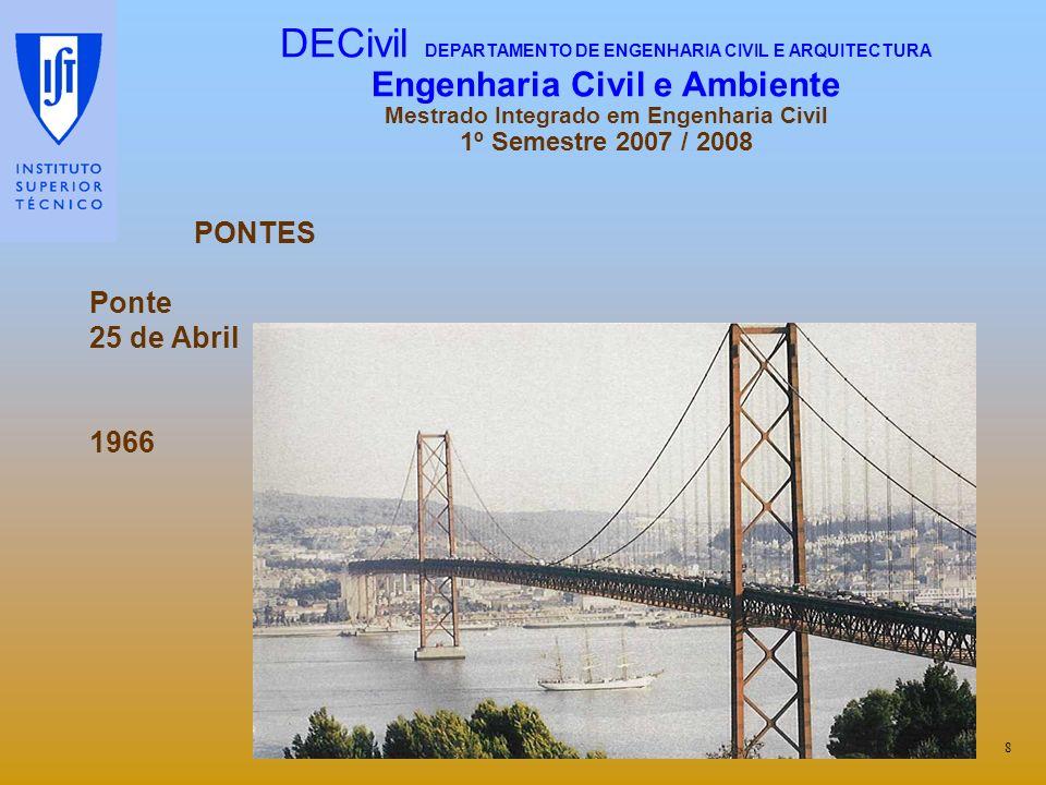 PONTES Ponte 25 de Abril 1966 8 DECivil DEPARTAMENTO DE ENGENHARIA CIVIL E ARQUITECTURA Engenharia Civil e Ambiente Mestrado Integrado em Engenharia C