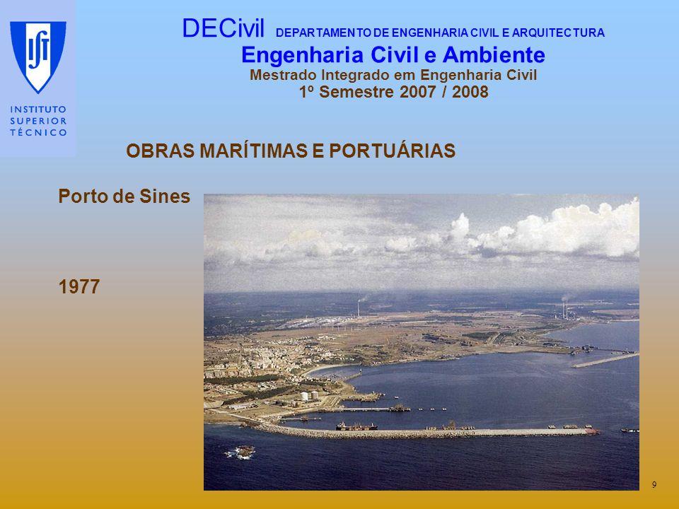 OBRAS MARÍTIMAS E PORTUÁRIAS Porto de Sines 1977 9 DECivil DEPARTAMENTO DE ENGENHARIA CIVIL E ARQUITECTURA Engenharia Civil e Ambiente Mestrado Integr