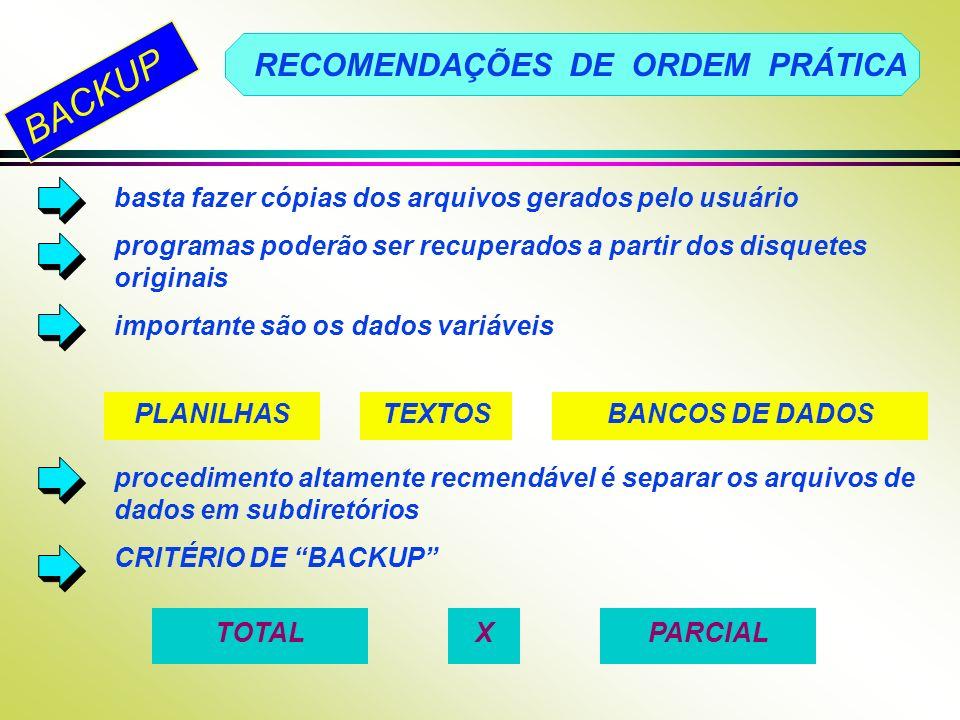 BACKUP RECOMENDAÇÕES DE ORDEM PRÁTICA basta fazer cópias dos arquivos gerados pelo usuário programas poderão ser recuperados a partir dos disquetes or