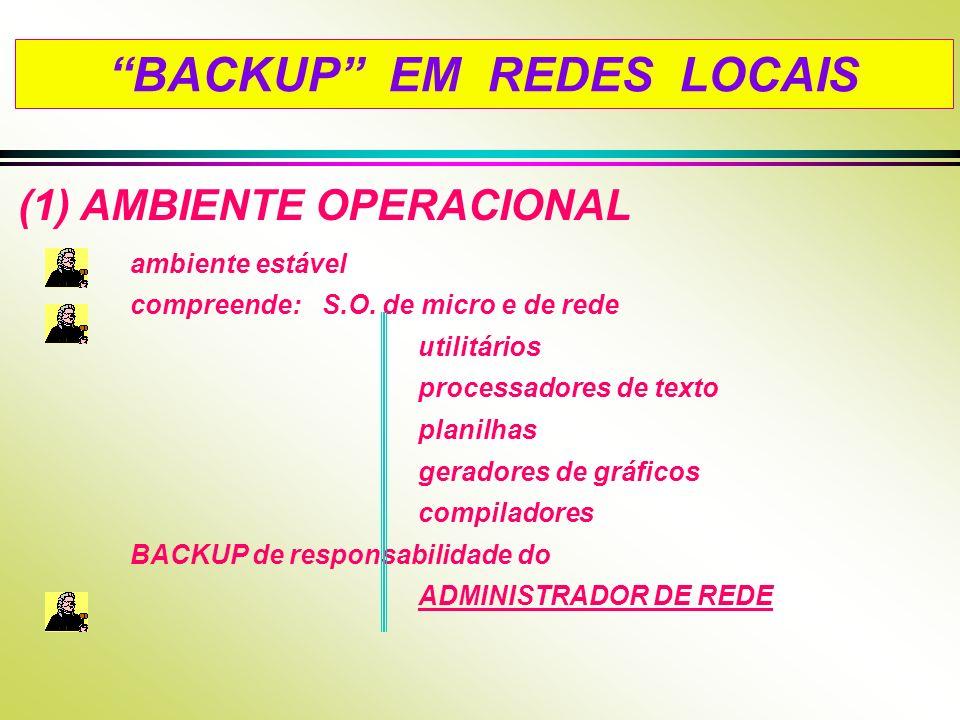 BACKUP EM REDES LOCAIS (1) AMBIENTE OPERACIONAL ambiente estável compreende: S.O. de micro e de rede utilitários processadores de texto planilhas gera