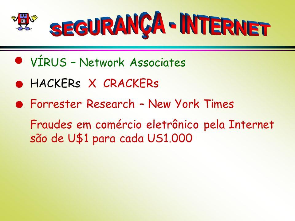VÍRUS – Network Associates HACKERs X CRACKERs Forrester Research – New York Times Fraudes em comércio eletrônico pela Internet são de U$1 para cada US