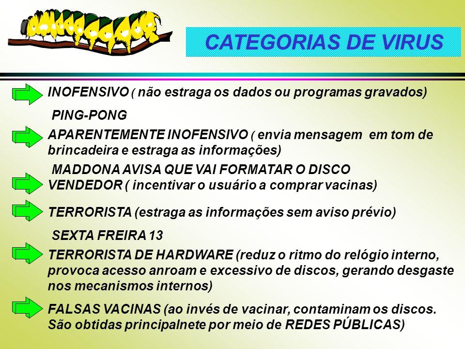 CATEGORIAS DE VIRUS VENDEDOR ( incentivar o usuário a comprar vacinas) INOFENSIVO ( não estraga os dados ou programas gravados) PING-PONG MADDONA AVIS