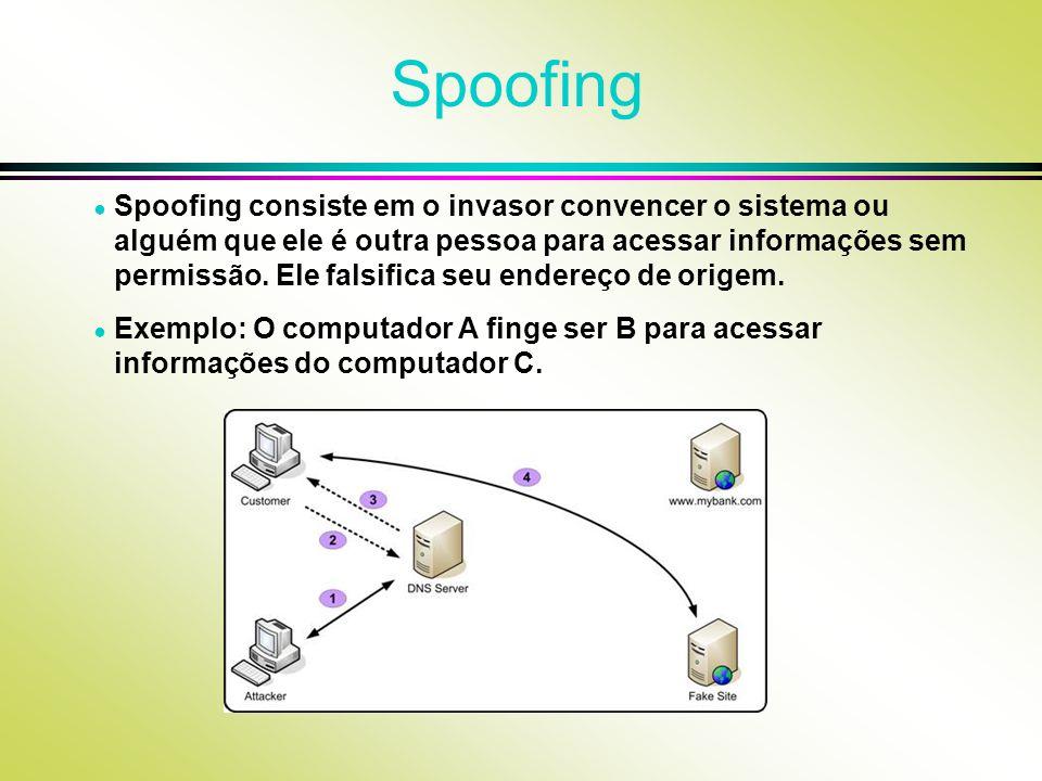 Spoofing Spoofing consiste em o invasor convencer o sistema ou alguém que ele é outra pessoa para acessar informações sem permissão. Ele falsifica seu