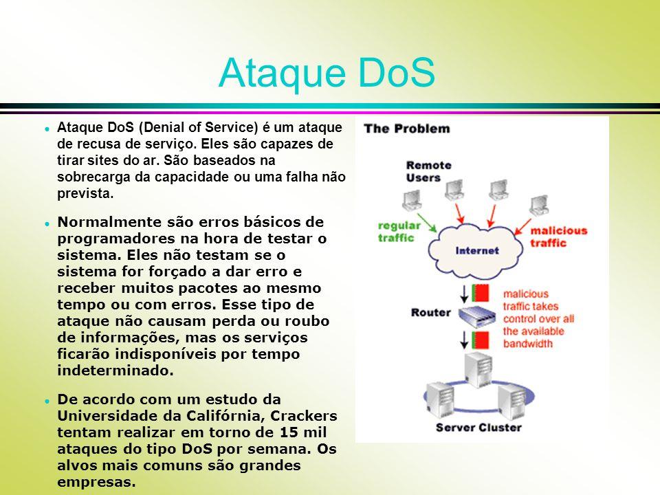 Ataque DoS Ataque DoS (Denial of Service) é um ataque de recusa de serviço. Eles são capazes de tirar sites do ar. São baseados na sobrecarga da capac