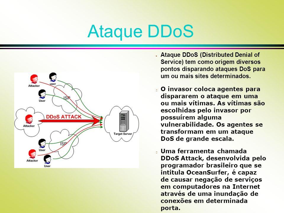 Ataque DDoS Ataque DDoS (Distributed Denial of Service) tem como origem diversos pontos disparando ataques DoS para um ou mais sites determinados.