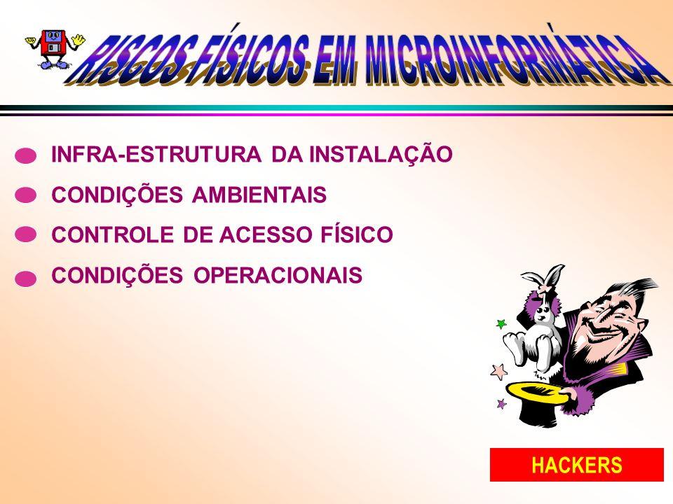 INFRA-ESTRUTURA DA INSTALAÇÃO CONDIÇÕES AMBIENTAIS CONTROLE DE ACESSO FÍSICO CONDIÇÕES OPERACIONAIS HACKERS