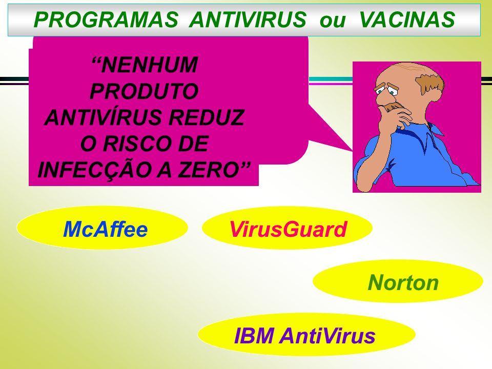 PROGRAMAS ANTIVIRUS ou VACINAS NENHUM PRODUTO ANTIVÍRUS REDUZ O RISCO DE INFECÇÃO A ZERO McAffeeVirusGuard Norton IBM AntiVirus
