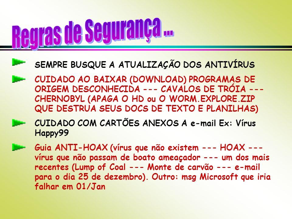 SEMPRE BUSQUE A ATUALIZAÇÃO DOS ANTIVÍRUS CUIDADO AO BAIXAR (DOWNLOAD) PROGRAMAS DE ORIGEM DESCONHECIDA --- CAVALOS DE TRÓIA --- CHERNOBYL (APAGA O HD ou O WORM.EXPLORE.ZIP QUE DESTRUA SEUS DOCS DE TEXTO E PLANILHAS) CUIDADO COM CARTÕES ANEXOS A e-mail Ex: Vírus Happy99 Guia ANTI-HOAX (vírus que não existem --- HOAX --- vírus que não passam de boato ameaçador --- um dos mais recentes (Lump of Coal --- Monte de carvão --- e-mail para o dia 25 de dezembro).