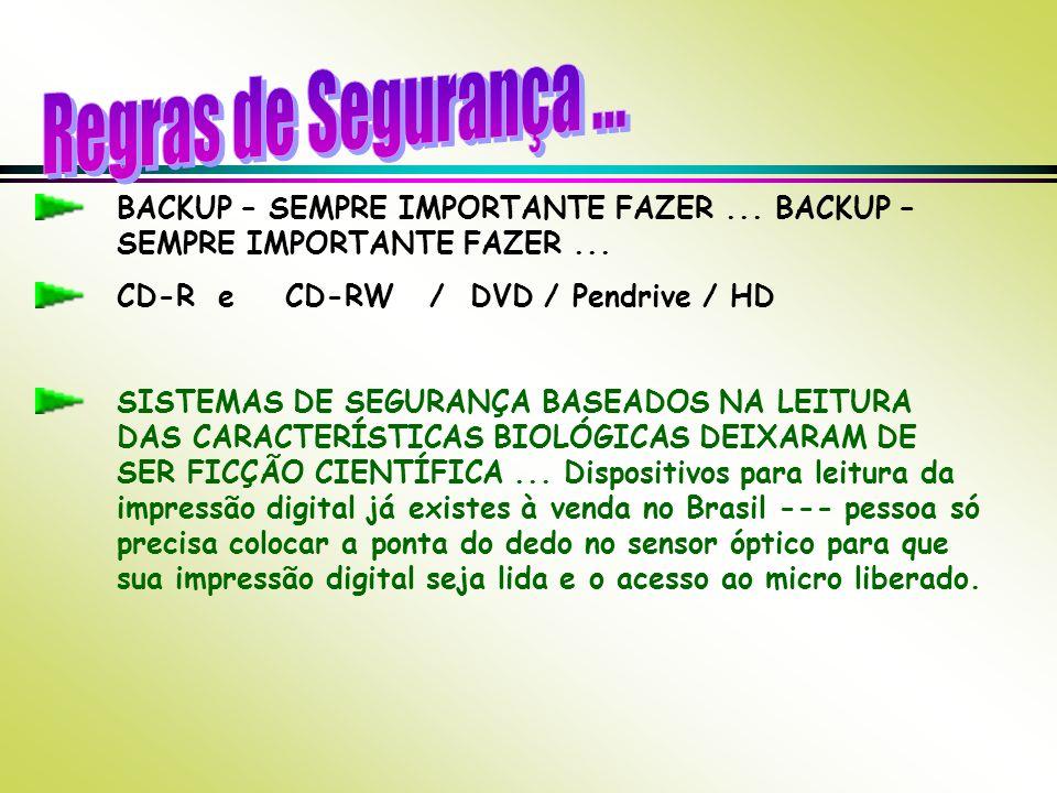 BACKUP – SEMPRE IMPORTANTE FAZER... CD-R e CD-RW / DVD / Pendrive / HD SISTEMAS DE SEGURANÇA BASEADOS NA LEITURA DAS CARACTERÍSTICAS BIOLÓGICAS DEIXAR
