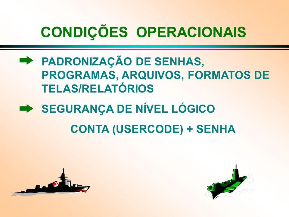 CONDIÇÕES OPERACIONAIS PADRONIZAÇÃO DE SENHAS, PROGRAMAS, ARQUIVOS, FORMATOS DE TELAS/RELATÓRIOS SEGURANÇA DE NÍVEL LÓGICO CONTA (USERCODE) + SENHA