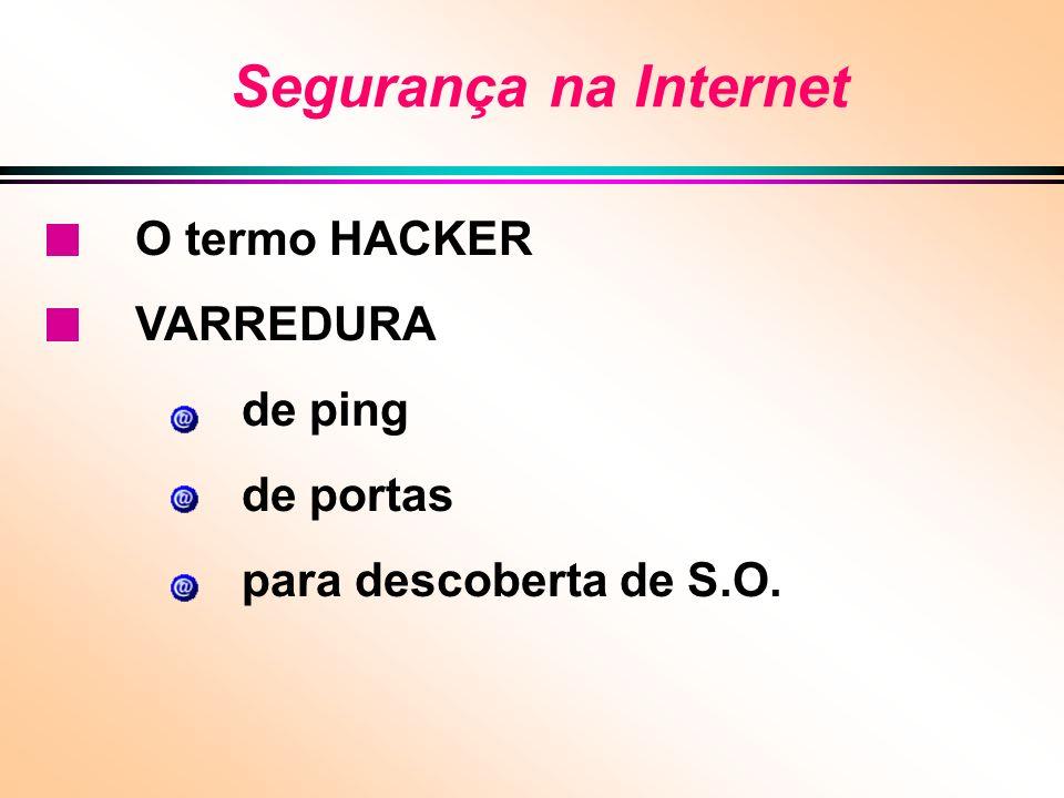 Segurança na Internet O termo HACKER VARREDURA de ping de portas para descoberta de S.O.